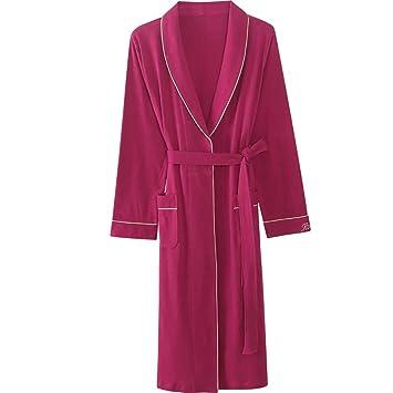 A~LICE&SY& Pijamas Albornoz señoras Batas de baño camisón de algodón Mangas largas Pijamas Rojo