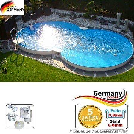 Schwimmbecken Steinoptik 3,6 x 1,20 m rund Stahlwandpool Pool Set Swimmingpool