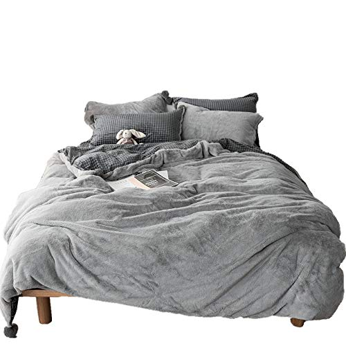 (Duvet Cover 4 Piece 100% Velvet Flannel Cool Percale Bedding Collection Solid Gray Plaid Pattern Comforter Insert Bedding Set Queen)
