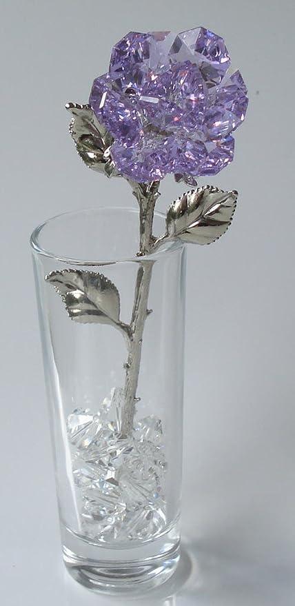 Amazon Purple Crystal Rose Made Using Swarovski Crystal In Vase