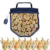 Wood Dreidels Draydel Game with Instructions in keepsake Draydel Shaped Bag (50-Pack)