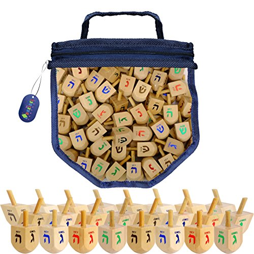 Wood Dreidels Draydel Game with Instructions in keepsake Draydel Shaped Bag (100-Pack)