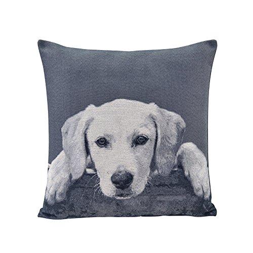 (Danya B Gray Labrador Puppy Cotton Jacquard Printed Decorative Toss Throw Accent)
