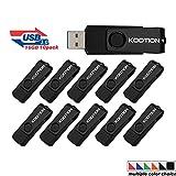 Kootion 16 GB USB Flash Drive 3.0 Flash Drive 10 Pack Thumb Drive Keychain Memory Stick Black