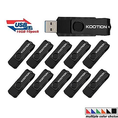 KOOTION 10PCS 16GB USB3.0 Flash Drives USB Stick Swivel Flash Drives USB Drive Memory Stick Thumb Drive Pen Drive, (Usb Did Drive)