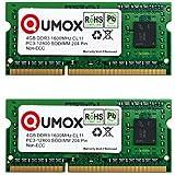 QUMOX 8 Go (2x 4 Go) DDR3 1600 4 Go PC3-12800 SO-DIMM PC3 RAM memoire d'ordinateur portable 204pin CL11