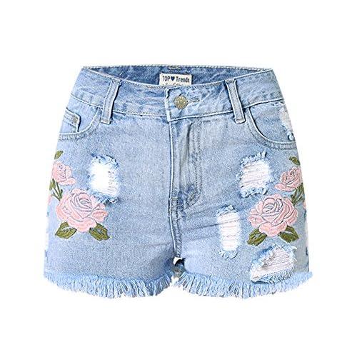 Dreamskull Womens High Waist Frayed Hem Peony Embroidered Denim Shorts hot sale