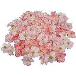 Colorfulife Cherry Blossom Flower Heads, 100pcs Artificial Silk Sakura Flower Head Petals Bridal Wedding Party Supply Table Floor DIY Decoration Centerpieces Home Decorative (Pink)