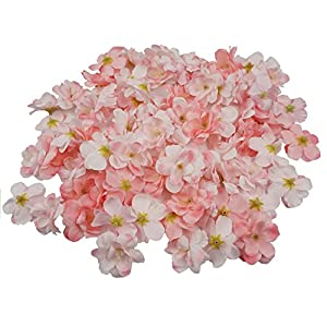 Colorfulife Cherry Blossom Flower Heads, 100pcs Artificial Silk Sakura Flower Head Petals Bridal Wedding Party Supply Table Floor DIY Decoration Centerpieces Home Decorative (Pink) 84