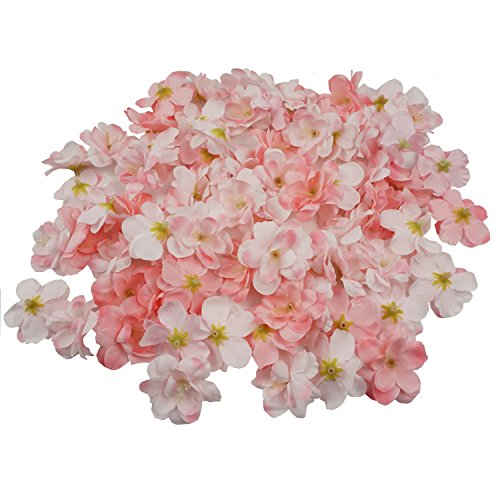 Colorfulife Cherry Blossom Flower Heads, 100pcs Artificial Silk Sakura Flower Head Petals Bridal Wedding Party Supply Table Floor DIY Decoration Centerpieces Home Decorative (Pink) ()