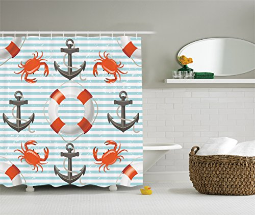 Teal striped nautical decor shower curtain set by for Bathroom accessories uae