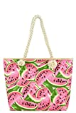 Rope Handle Canvas Summer Spring Print Tote Carryall Purse Bags (Rope Strap - Juicy Watermelon)
