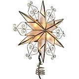Kurt Adler 10-Light 6-Point Capiz Star Treetop with Scroll Design