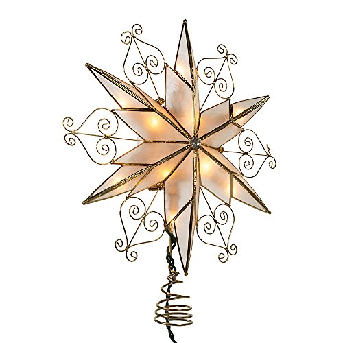 Kurt Adler 10-Light 6-Point Capiz Star Treetop with Scroll Design (Simple Tree Topper Angel)