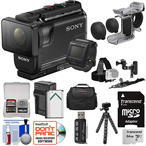 Sony Action Cam HDR-AS50R Wi-Fi HD Video Camera Camcorder & Remote + Finger Grip + Helmet Mounts + 64GB Card + Battery & Charger + Case + Tripod Kit