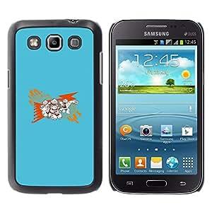 KLONGSHOP // Cubierta de piel con cierre a presión Shell trasero duro de goma Protección Caso - Resumen Azul - Samsung Galaxy Win I8550 //