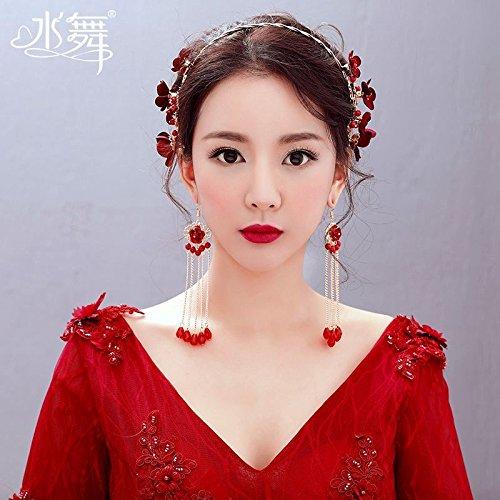 Quantity 1x Stylish new _Merlot_ Headdress _Suite_King_wine_clothing_ Bridal Wedding jewelry earrings earrings (Merlot King)