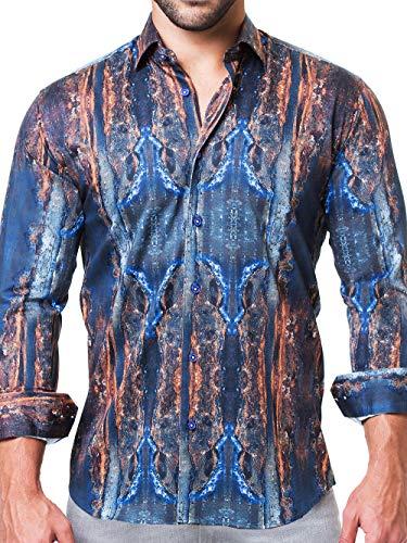 Maceoo Mens Designer Dress Shirt - Stylish & Trendy - Fibonacci Chemical Grey - Tailored Fit (Cotton Dress Shirt Italian Collar)