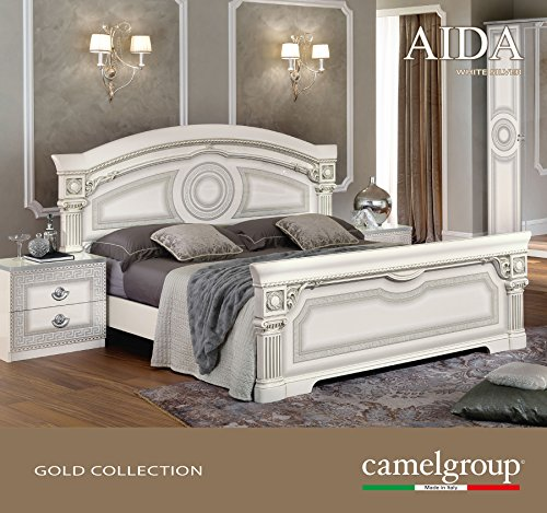 Glossy White Finish Lacquer - ESF Aida Glossy White Silver Lacquer Finish Queen Panel Bed Made in Italy