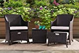 Sunjoy S-BS1011SST-A Parkside 5 Piece Wicker Seating Set, Brown Frame with Tan Cushion
