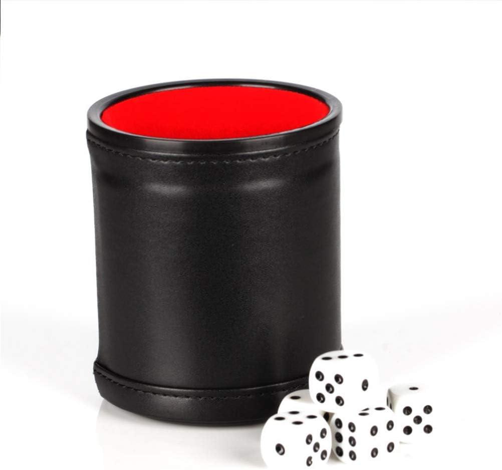 LIOOBO Juego de Tazas de Dados Tazas Profesionales de Dados con Forro Rojo Incluye 5 Dados Blancos de Seis Lados