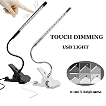 Bonlux Touch Dimmable Flexible USB LED Eye-care Reading Light Adjustable Solid Clip Desk Lamp for Laptop (1, White)