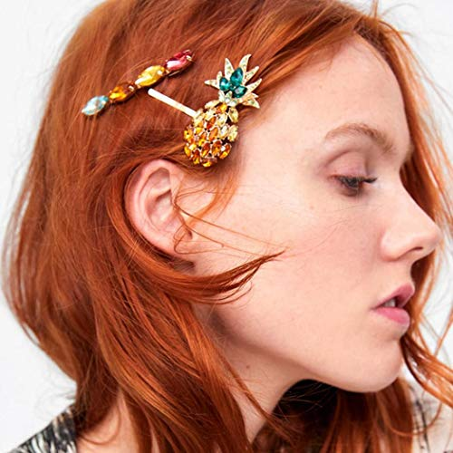 shiYsRL 3Pcs Women Colorful Faux Gemstone Inlay Pineapple Hairpins Hair Clips Headwear
