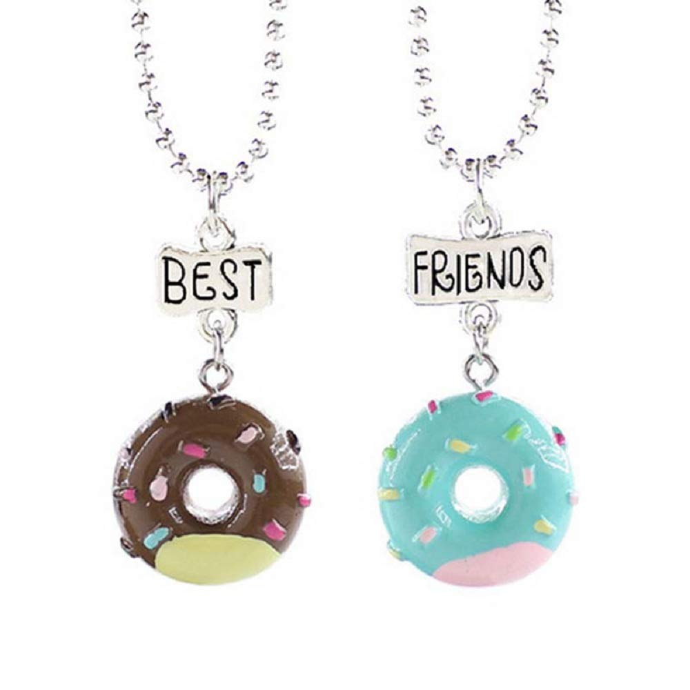 MJartoria Best Buds Cute Milk and Cookie Friendship Necklaces Set of 2 (Brown + Blue Donut)
