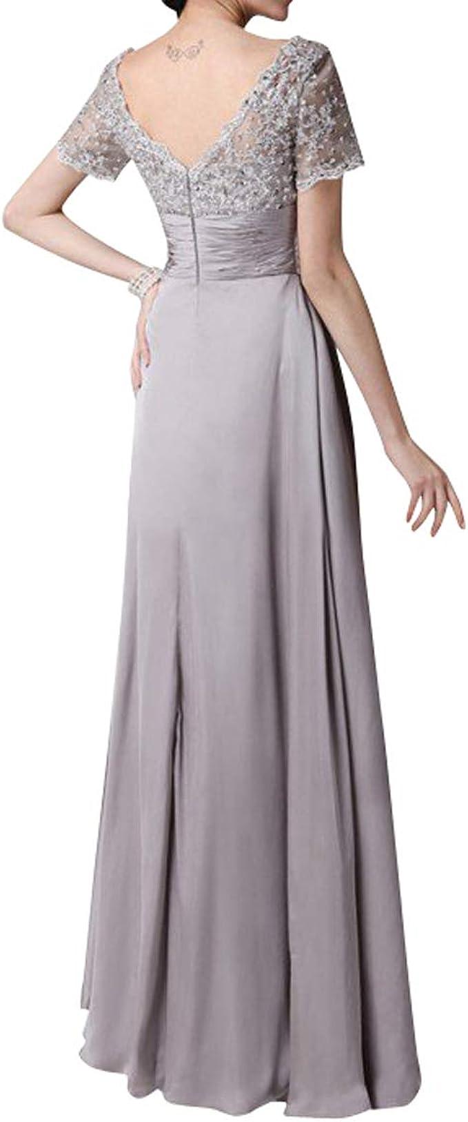 Royaldress Damen glamoure Kurzarm silberhochzeit Kleider Festliche