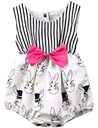 Baby Girl Easter Outfit Cartoon Bunny Sleeveless Striped Romper Bodysuit With Bowknot