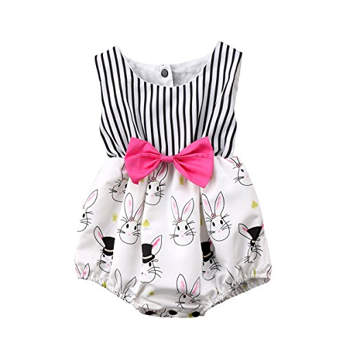 Honganda Cute Baby Girl Cartoon Bunny Sleeveless Striped Romper Bodysuit Outfit With Bowknot (6-12 Months)