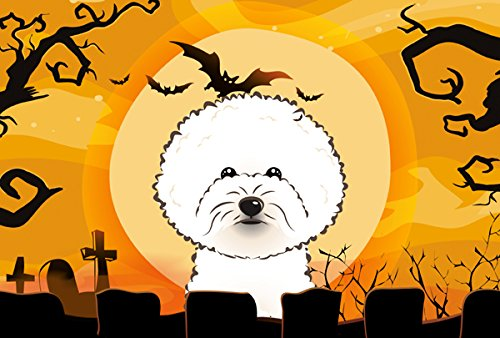Caroline's Treasures BB1775PLMT Halloween Bichon Frise Fabric Placemat, Multicolor -