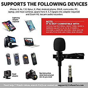 Omnidirectional, Lavalier, Lapel, Microphone [Upgraded 2018] Clip on tie Shirt Smartphone, iPhone, Android Phone, DSLR, Laptop, pc, Camera, Camcorder
