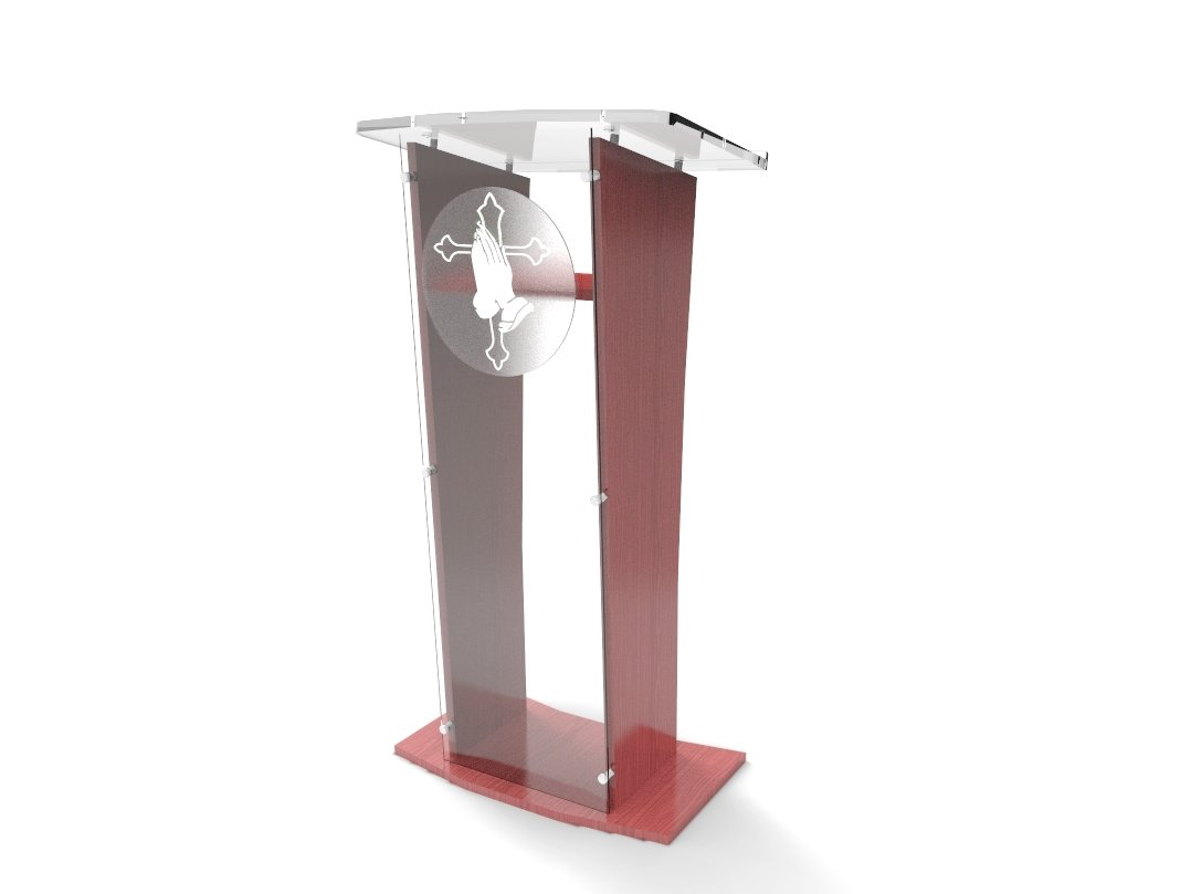 FixtureDisplays Acrylic/Podium/Lectern/Pulpit/Plexiglass/Lucite/clear Wood Shelf Frame With Pray Hand decor SHIP UNASSEMBLED/FLAT Detachable Logo 1803-5+12152