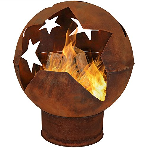 Sunnydaze Starry Night Fire Pit Bowl, Rustic Outdoor Woodburning Backyard Fireplace, 32 Inch (Fire Pit Sphere)