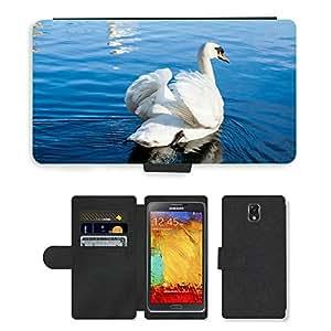 Super Stella Cell Phone Card Slot PU Leather Wallet Case // M00144697 Swan Bird Water Pond Swim Beautiful // Samsung Galaxy Note 3 III N9000 N9002 N9005