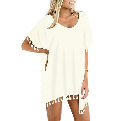 GDKEY Women Chiffon Tassel Swimsuit Bikini Stylish Beach Cover up at Women's Clothing store