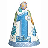 Blue 1st Birthday Party Hats, 8ct