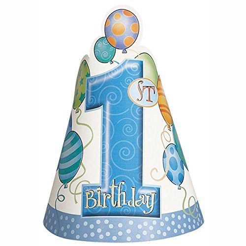 (Blue 1st Birthday Party Hats, 8ct)