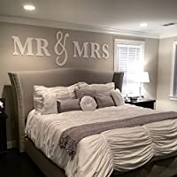 Mr & Mrs Wall Hanging Decor Set, Artwork for Wall Home Decor Over Headboard, Bedroom Mr & Mrs Above the Bed Sign Gift King Or Queen Size