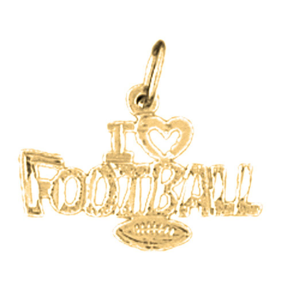 14K Yellow Gold I Love Football Pendant 15 mm Jewels Obsession I Love Football Charm Pendant