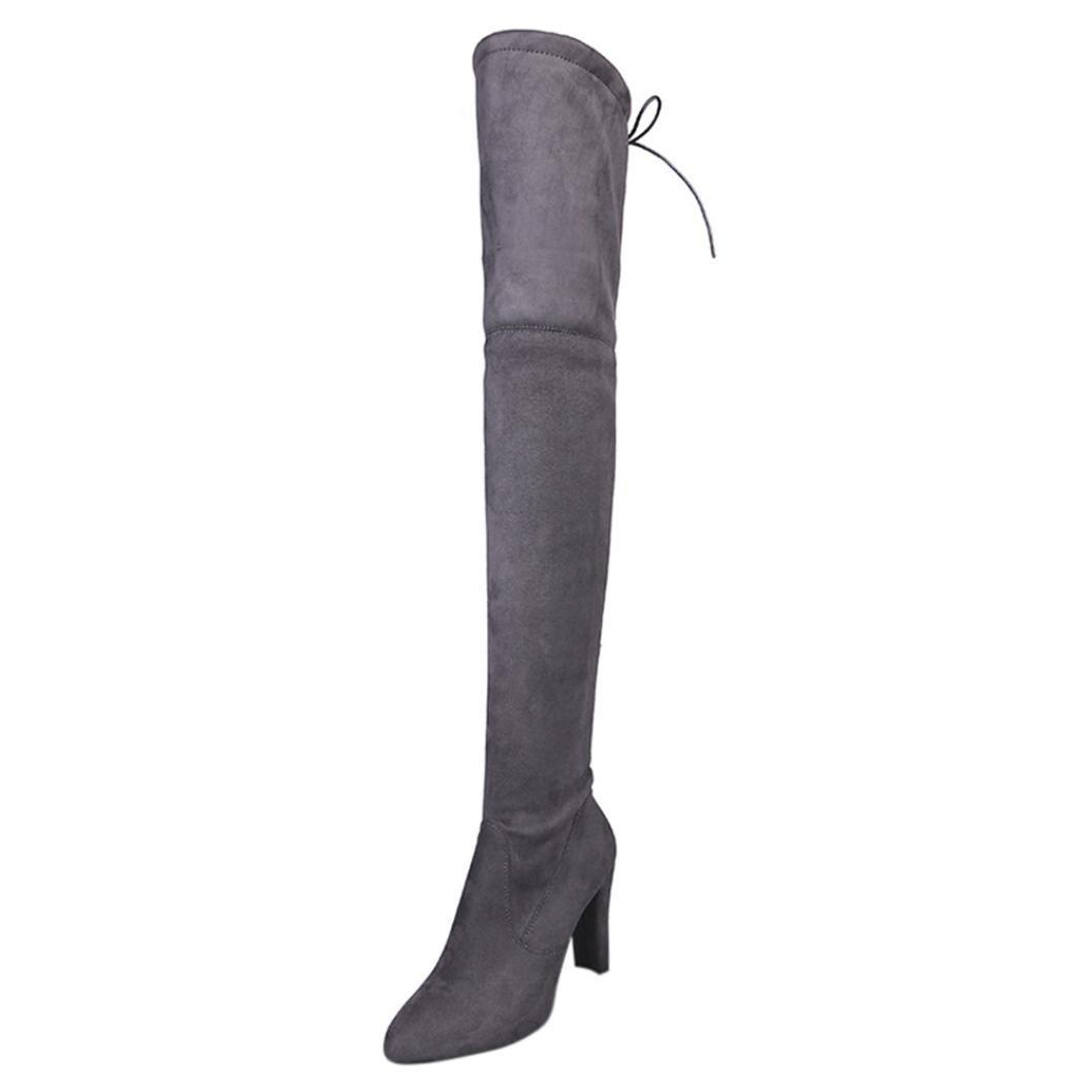 Stiefel Damen Schuhe Sonnena Hoher Schlauch Frauen Stretch Faux Schlank Hohe Stiefel über Die Blockabsatz Boots Knie Stiefel High Heels Schuhe Velours Look Flache Boots  36 EU|Sexy Grau