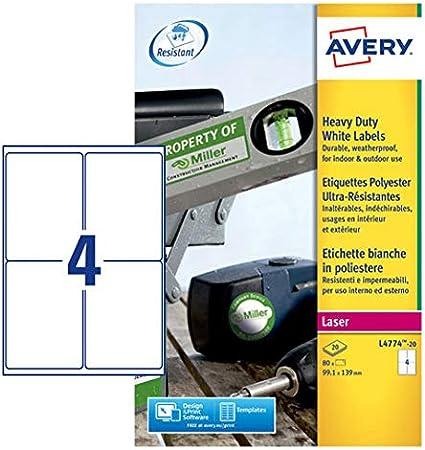Avery España L4774-20.Caja de 80 etiquetas blancas de poliéste, 99.1x139mm en A4: Amazon.es: Oficina y papelería