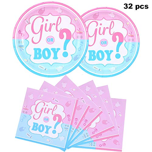 (Gender Reveal Party Supplies Plates and Napkins Set, Baby Shower, Children's Party Boy or Girl Pink & Blue Birthday Party)