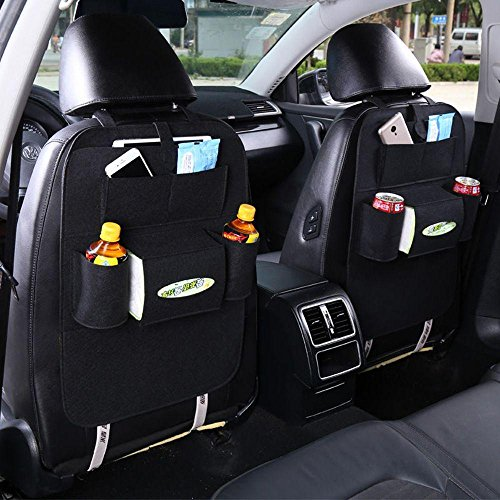 Amapower Black Item Finishing Non-woven Fabric Multi-Pocket Storage Pouch Auto Organizer Car Seat Back ()