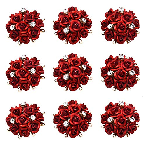 Monrocco Pack of 10 Crystal Rhinestone Aluminum Rose Flowers Embellishments Buttons Gold Plated Sew on Buttons for Clothing, Bags, Shoes, Headpieces,Wedding Dress, Wedding Party Decorations,etc