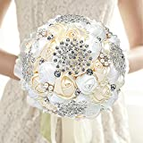 Bejeweled Wedding Bouquet, White & Ivory Faux Pearls and Rhinestones Bridal Satin Rose Flowers