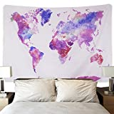 Sunm Boutique Retro Watercolor World Map Tapestry Colorful Map Tapestry Wall Hanging Bedroom Living Room Dorm Home Decor (Large/82.7'' X 59.1'') (Large/82.7'' X 59.1'', Purple)
