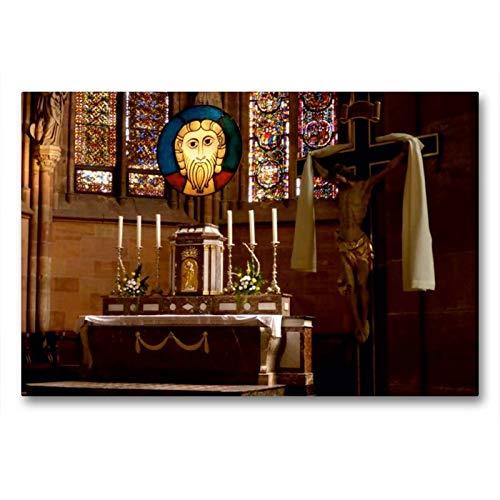 Premium Textil de lienzo 45cm x 30cm Horizontal Altar Abadía de St. Peter y Paul, wissemb ourg/Francia, 90x60 cm por CALVENDO