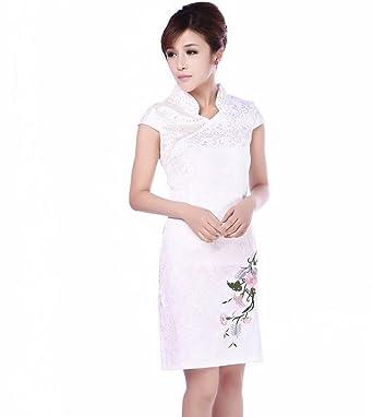 afe1bae1b Jtc Women's Chinese White Cotton Embroidery Flower Short Cheongsam 1PC ...